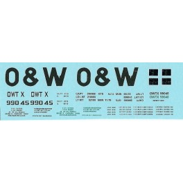 DANS RESIN CASTING DECALS - ONEIDA & WESTERN BATHTUB COAL GONDOLA - OWTX 99045
