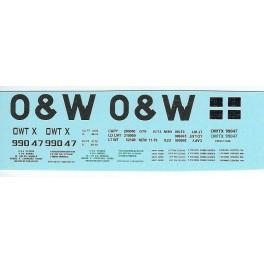 DANS RESIN CASTING DECALS - ONEIDA & WESTERN BATHTUB COAL GONDOLA - OWTX 99047