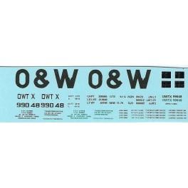 DANS RESIN CASTING DECALS - ONEIDA & WESTERN BATHTUB COAL GONDOLA - OWTX 99048