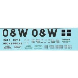 DANS RESIN CASTING DECALS - ONEIDA & WESTERN BATHTUB COAL GONDOLA - OWTX 99049