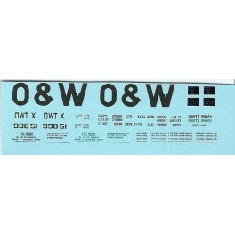 DANS RESIN CASTING DECALS - ONEIDA & WESTERN BATHTUB COAL GONDOLA - OWTX 99051