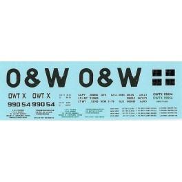 DANS RESIN CASTING DECALS - ONEIDA & WESTERN BATHTUB COAL GONDOLA - OWTX 99054
