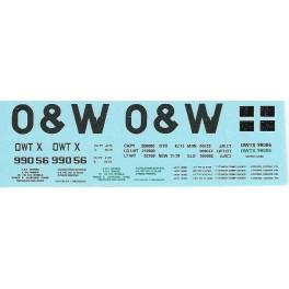 DANS RESIN CASTING DECALS - ONEIDA & WESTERN BATHTUB COAL GONDOLA - OWTX 99056