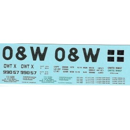 DANS RESIN CASTING DECALS - ONEIDA & WESTERN BATHTUB COAL GONDOLA - OWTX 99057