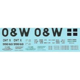 DANS RESIN CASTING DECALS - ONEIDA & WESTERN BATHTUB COAL GONDOLA - OWTX 99060
