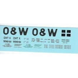 DANS RESIN CASTING DECALS - ONEIDA & WESTERN BATHTUB COAL GONDOLA - OWTX 99061