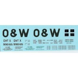 DANS RESIN CASTING DECALS - ONEIDA & WESTERN BATHTUB COAL GONDOLA - OWTX 99065