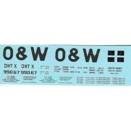 DANS RESIN CASTING DECALS - ONEIDA & WESTERN BATHTUB COAL GONDOLA - OWTX 99067