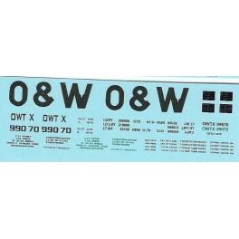 DANS RESIN CASTING DECALS - ONEIDA & WESTERN BATHTUB COAL GONDOLA - OWTX 99070