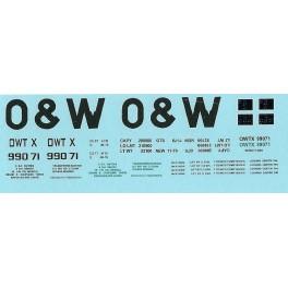 DANS RESIN CASTING DECALS - ONEIDA & WESTERN BATHTUB COAL GONDOLA - OWTX 99071