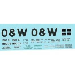 DANS RESIN CASTING DECALS - ONEIDA & WESTERN BATHTUB COAL GONDOLA - OWTX 99075