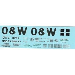 DANS RESIN CASTING DECALS - ONEIDA & WESTERN BATHTUB COAL GONDOLA - OWTX 99077