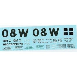 DANS RESIN CASTING DECALS - ONEIDA & WESTERN BATHTUB COAL GONDOLA - OWTX 99078