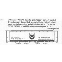 CDS DRY TRANSFER N-211NOS  CANADIAN WHEAT BOARD 4 BAY COVERED HOPPER - N SCALE