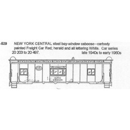 CDS DRY TRANSFER HO-529NOS  NEW YORK CENTRAL BAY WINDOW CABOOSE - HO SCALE