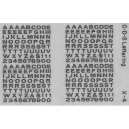"CDS DRY TRANSFER X-4 3/32"" EXTENDED GOTHIC ALPHABET"