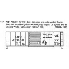 CDS DRY TRANSFER N-117NOS ANN ARBOR 40' BOXCAR - N SCALE