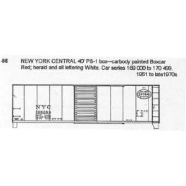 CDS DRY TRANSFER N-98  NEW YORK CENTRAL 40' BOXCAR