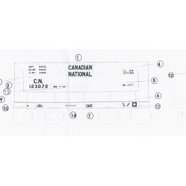 BLACK CAT DECAL - BC249-O - CANADIAN NATIONAL ORE CAR
