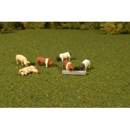 BACHMANN 33168 O SCALE PAINTED FIGURES - PIGS