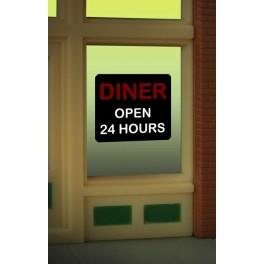 MILLER 8965 - NEON SIGN - DINER OPEN 24 HOURS WINDOW SIGN