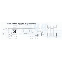 BLACK CAT DECAL - BC304 - PACIFIC GREAT EASTERN WOOD CABOOSE - MAP