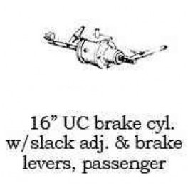 "PSC 33168 - 16"" UC BRAKE CYLINDER WITH SLACK ADJUSTER & LEVERS"