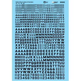 MICROSCALE DECAL 90302 - ALPHABET BLOCK GOTHIC BLACK