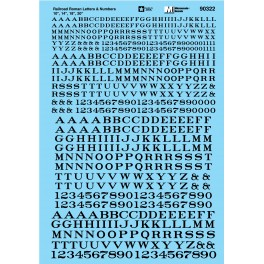 MICROSCALE DECAL 90322 - ALPHABET RAILROAD ROMAN BLACK