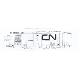 BLACK CAT DECAL - BC319 - CANADIAN NATIONAL 50' DOUBLE DOOR BOXCAR
