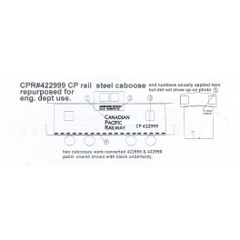 BLACK CAT DECAL - BC318 - CANADIAN PACIFIC ENGINEERING DEPT. TRANSPORT CAR - BROWN CAR