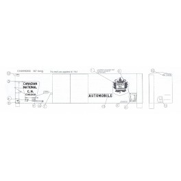 BLACK CAT DECAL - BC315 - CANADIAN NATIONAL 50' DOUBLE DOOR BOXCAR