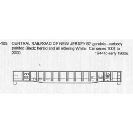 CDS DRY TRANSFER HO-125  CENTRAL RAILROAD OF NEW JERSEY 52' GONDOLA
