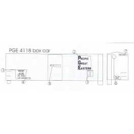 BLACK CAT DECAL - BC334 - PACIFIC GREAT EASTERN 40' BOXCAR - HO SCALE