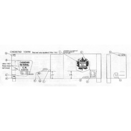 """BLACK CAT DECAL - BC117-O - CANADIAN NATIONAL 40' BOXCAR - 10'6""""IH -O SCALE"""