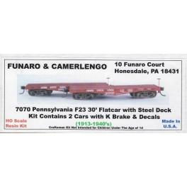 FUNARO & CAMERLENGO 7070 - PENNSYLVANIA F23 30' FLAT CAR KIT - HO SCALE