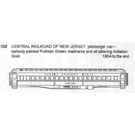 CDS DRY TRANSFER HO-128  CENTRAL RAILROAD OF NEW JERSEY PASSENGER CAR