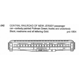 CDS DRY TRANSFER HO-242  CENTRAL RAILROAD OF NEW JERSEY PASSENGER CAR