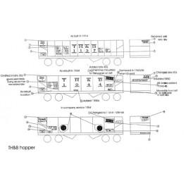 BLACK CAT DECAL - BC056-O - TORONTO HAMILTON & BUFFALO 2 BAY HOPPER - O SCALE