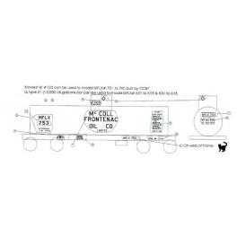 BLACK CAT DECAL - BC067 -McCOLL FRONTENAC TANK CAR
