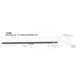 BLACK CAT DECAL - BC176-O - VIA RAIL E CLASS SLEEPER - O SCALE