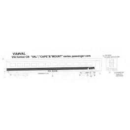 BLACK CAT DECAL - BC180-O - VIA RAIL VAL, CAPE & MOUNT CLASS SLEEPER