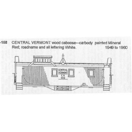 CDS DRY TRANSFER HO-158  CENTRAL VERMONT CABOOSE - HO SCALE