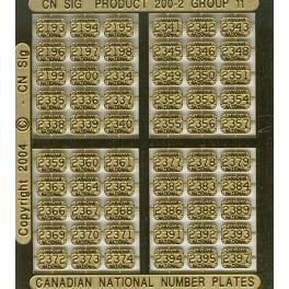 CNRHA - 200-2-11 - CANADIAN NATIONAL STEAM LOCOMOTIVE NUMBER PLATES 2193-2397