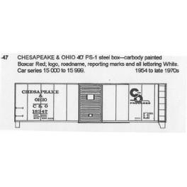 CDS DRY TRANSFER HO-47  CHESAPEAKE & OHIO 40' BOXCAR