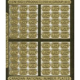 CNRHA - 200-4-8 - CANADIAN NATIONAL STEAM LOCOMOTIVE NUMBER PLATES 7333-7409