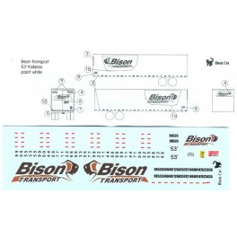 BLACK CAT DECAL - BC223 - BISON TRANSPORT 53' TRAILER - HO SCALE