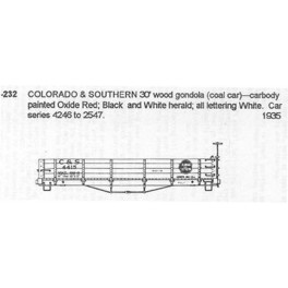 CDS DRY TRANSFER HO-232  COLORADO & SOUTHERN 30' WOOD COAL CAR
