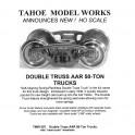TMW207 - DOUBLE TRUSS AAR 50-TON TRUCKS - SEMI-SCALE WHEELSETS