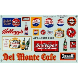 MICROSCALE DECAL 48-625 - SOFT DRINK SIGNS - O SCALE